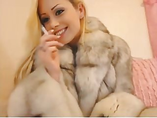 Candi in fur smoking (JS)