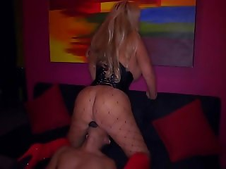 Busty MILF Stripper sits on his face