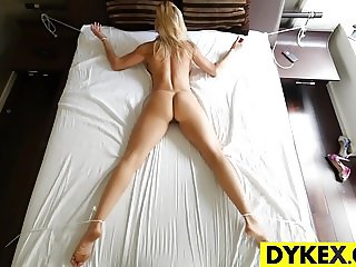 Sexy blonde lez seducing a hot gal