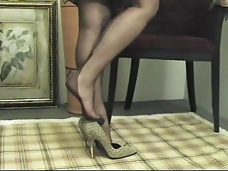 Foot Tease in brown stockings # 1