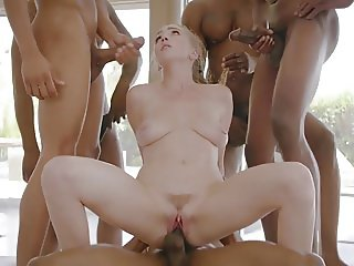 Blonde fucked by several guys