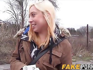 Amazing blonde Andrea gets fucked outdoor for loads of cash