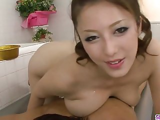 Busty Meisa Hanai goes wild on younger cock