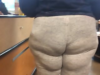 Fat Ass Wobbling BBW in Grey