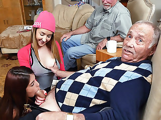 Petite Teen Gigi Flamez and Sally Squirt Fuck Grandpa