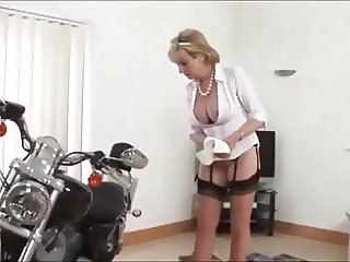 British MILF Cleaning Up Her Motorcycle