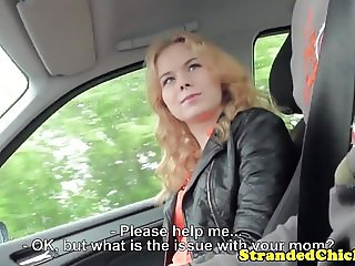 Hitchhiking eurobabe pounded in back of car