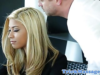 Office massaged babe doggystyled by masseur