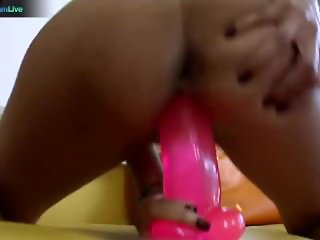 Sochee Mala talking dirty while fucking her pink dildo