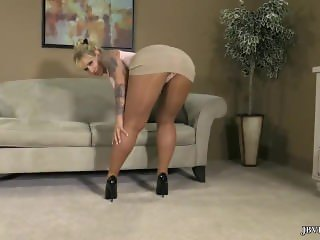 Sexy Blonde Pantyhose Tight Skirt and Heels Tease Yes Please!