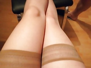 Hot cum on nylon legs