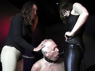 Femdoms latex dominate tag team sissy wank face fuck strapon