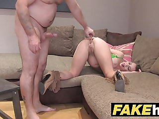 Fake Agent UK Petite minx gets fast anal fucking on casting