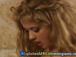 African babe get cunts filled by white schlong
