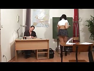 Young schoolgirl Karmen get tight holes fucked by teacher