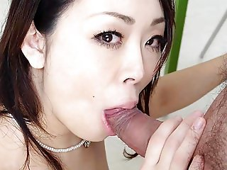 Small titty Asian babe rides her man's huge pecker