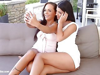 Sensual lesbian scene by Sapphix with Vivien Bell and A