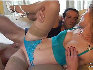 Pretty small titted tall french blonde hard banged w handjob
