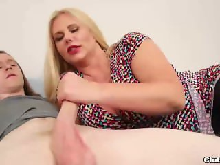 Big-titted milf handjob