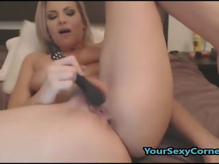 Stunning Blonde Enjoys Masturbating Her Wet Shaved Pussy