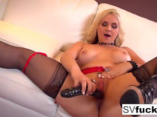 Sarah Vandella uses a big toy in her tight pussy