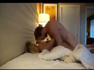 Pretty blonde milf in hotel with with amateur man
