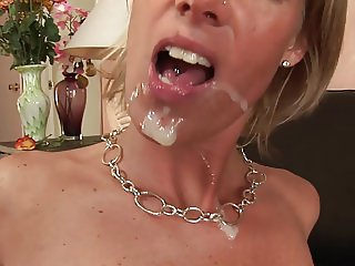 Busty blonde gets a face full of cum after hardcore blowie