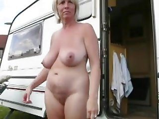 Mature boobs naked outside