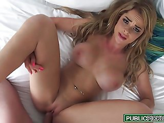 Public Pick Ups - Bikini Blonde Flashes for Cash starring Sk