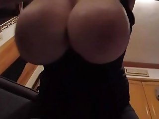 Cougar's Big Natural Swinging Hangers OMG!! HUGE BOOBS!!