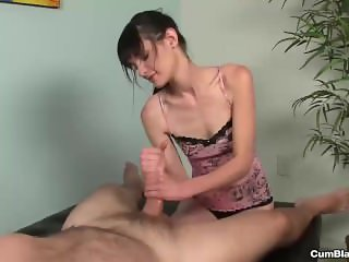 Big cum splatter for the brunette slut