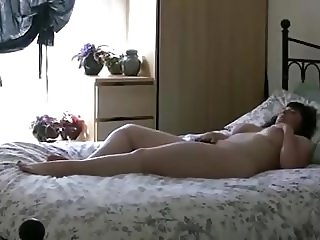big beautiful girl plays with her hairy pussy