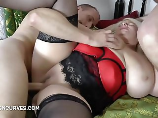 Massive boobs blonde fucked by two studs