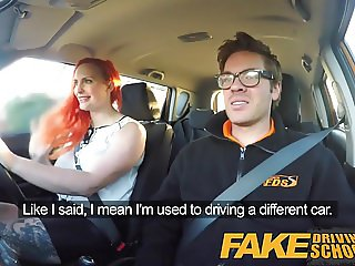 Fake Driving School Redhead lusts after instructors big cock