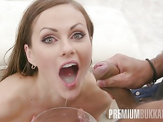 Premium Bukkake - Tina Kay swallows 68 big loads and got DP