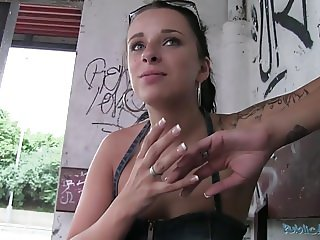 PublicAgent Czech Tattooed Babe Fucks on Street for Money
