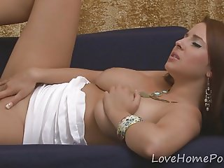 Solo act with a kinky big tits beauty