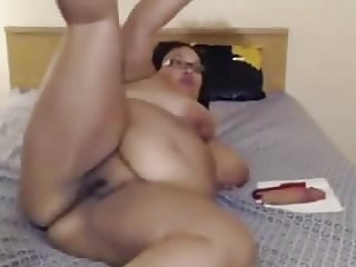 Naughty ebony BBW Carmen loves spanking her huge ass