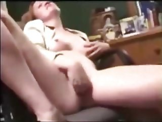 School Teacher Fingers Self on Cam