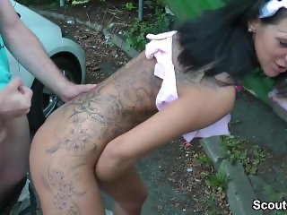German Huge Tit Teen Fuck with older Stranger Outdoor