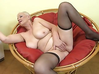 GILF with big saggy boobs and hairy pussy