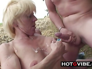 Mature Blonde Threesome In Public with Young