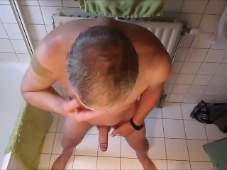 jerking in my bathroom with cumshot