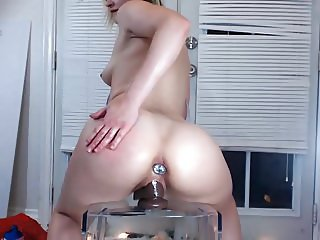 Sexy big booty anal plug riding her dildo