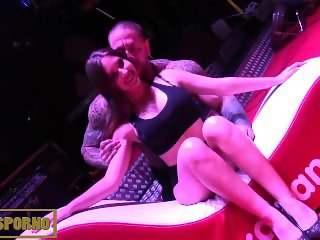 Girl from public on stage with pornstar