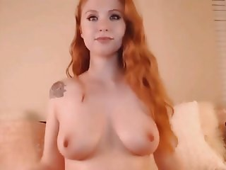 Redhead Babe Sucks Dildo Then Fuck her Pussy