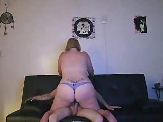 Blonde BBW rides with thong on