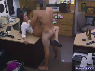 Big tit brunette rides dildo PawnShop
