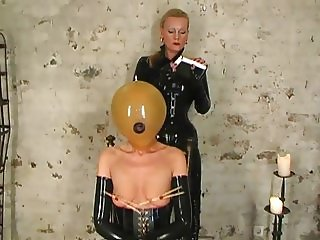 latex slave girl tortured by rubber mistress