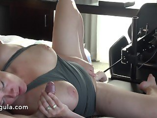 Fucked by the FuckMachine While Sucking His Cock - 4K